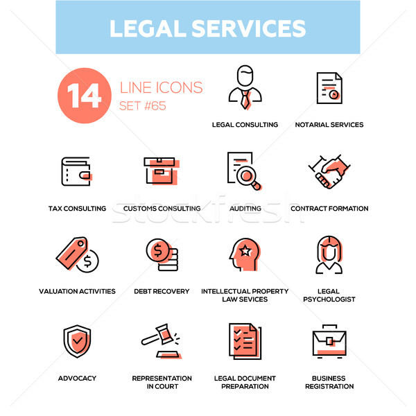 Legal services - line design icons set Stock photo © Decorwithme