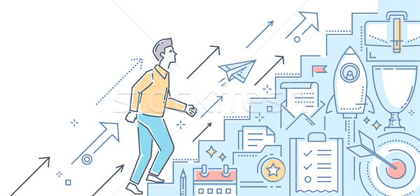 Career growth - modern line design style illustration Stock photo © Decorwithme