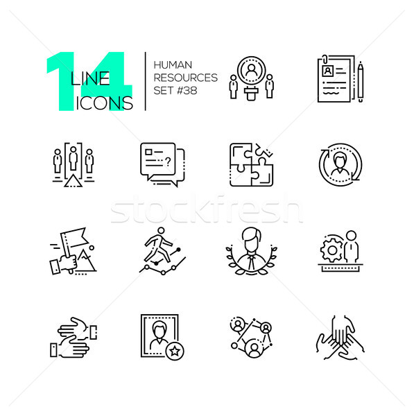 Human resources - set of line design style icons Stock photo © Decorwithme