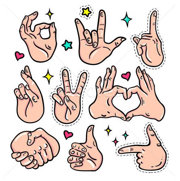 Hand gestures - vector isolated stickers set Stock photo © Decorwithme