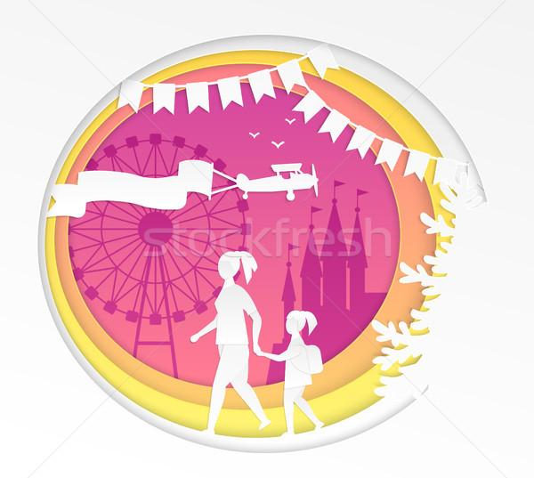Amusement park - modern vector paper cut illustration Stock photo © Decorwithme
