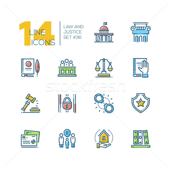 Law and justice - set of line design style icons Stock photo © Decorwithme