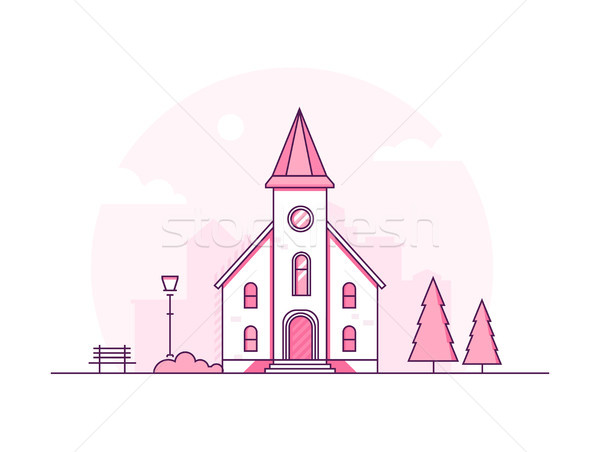 Small church - modern thin line design style vector illustration Stock photo © Decorwithme