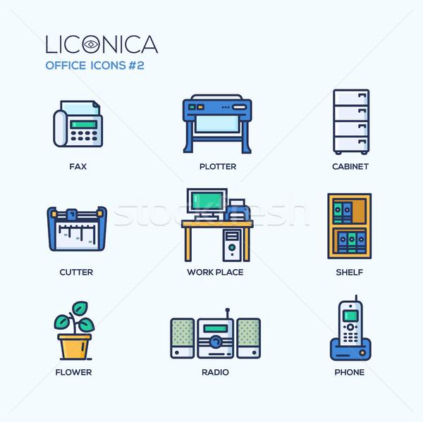 Stockfoto: Ingesteld · moderne · kantoor · dun · lijn · ontwerp