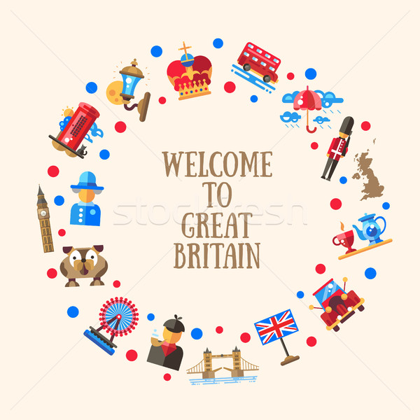 Welcome to Great Britain circle card with famous British symbols Stock photo © Decorwithme
