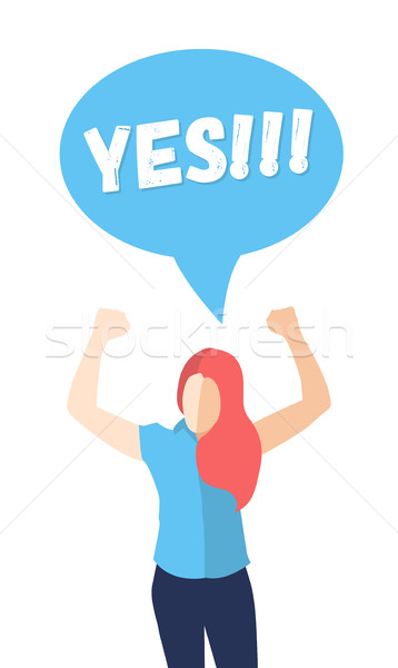Female in a pose of success saying YES Stock photo © Decorwithme