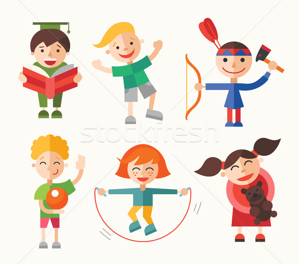 Children and their hobbies - flat design characters set Stock photo © Decorwithme
