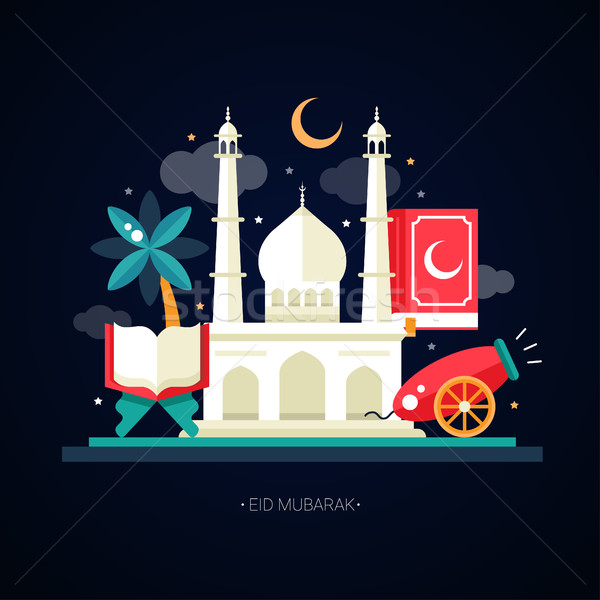 Postcard template with islamic culture icons Stock photo © Decorwithme
