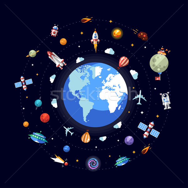 Flat design illustration of Earth with space icons and infograph Stock photo © Decorwithme