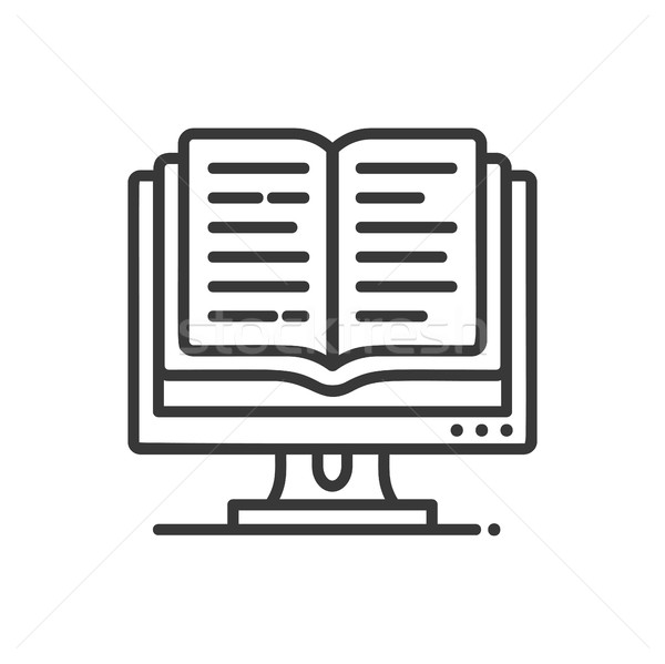 Online education - modern vector single line icon Stock photo © Decorwithme