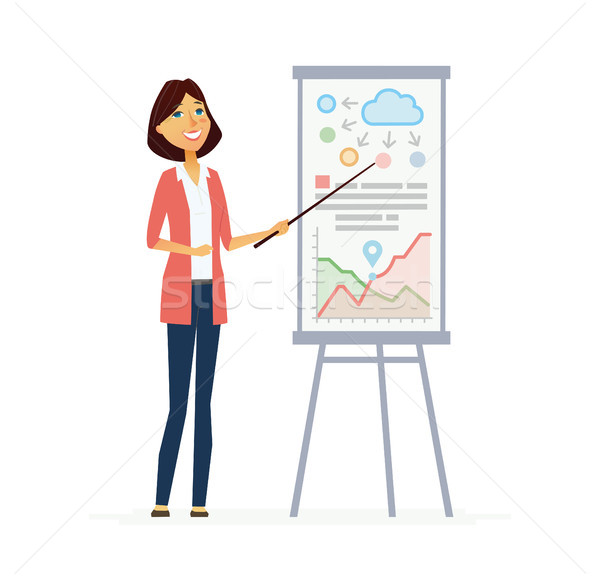 Female Presenter - modern vector flat composition. Stock photo © Decorwithme