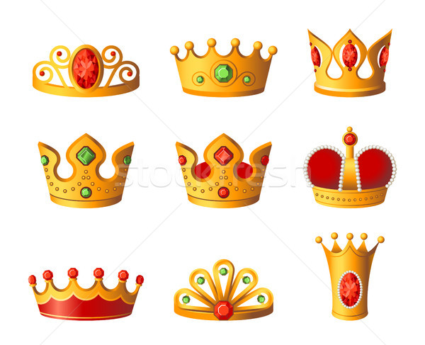 Crowns - realistic vector set of royal headgear Stock photo © Decorwithme