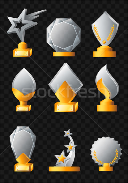 Realista vector establecer trofeos moderna Foto stock © Decorwithme