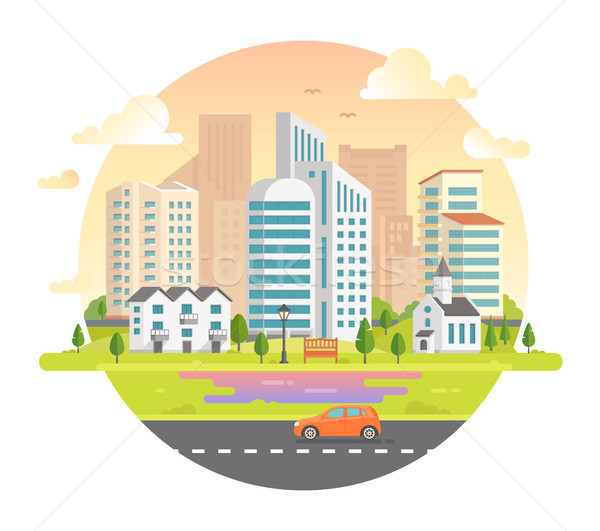 Stock photo: Cityscape with skyscrapers in a round frame - modern vector illustration