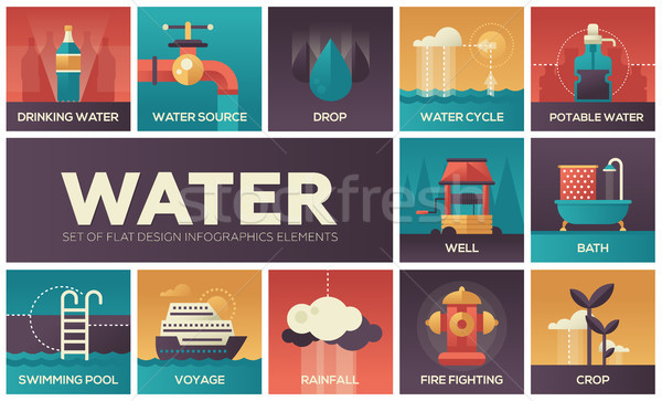 Water concept - set of flat design infographics elements Stock photo © Decorwithme