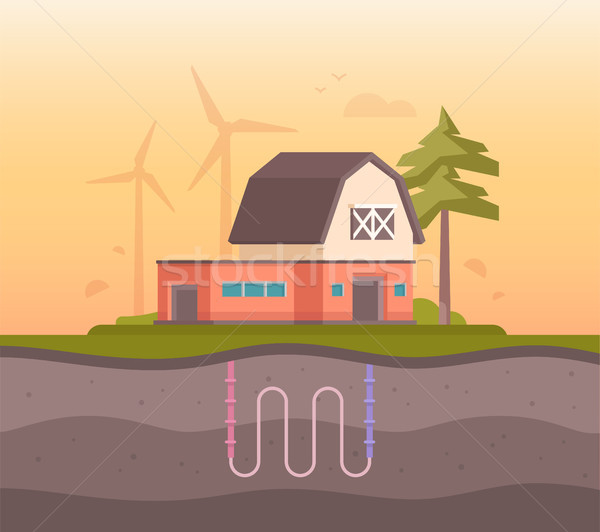 Farm house with sewage system - modern flat design style vector illustration Stock photo © Decorwithme