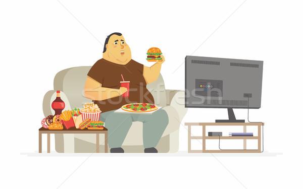 Grubas oglądania telewizja charakter odizolowany Zdjęcia stock © Decorwithme
