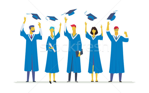 Happy graduating students - flat design style colorful illustration Stock photo © Decorwithme