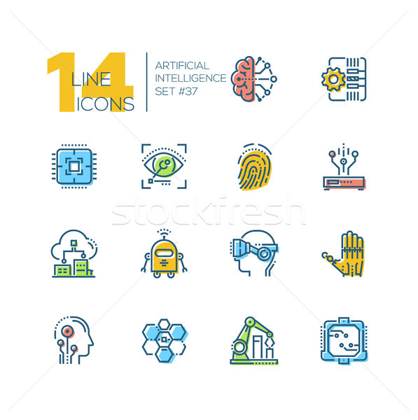 Artificial intelligence - set of line design style icons Stock photo © Decorwithme
