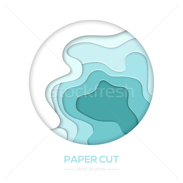 Stock photo: Turquois abstract layout - vector paper cut banner