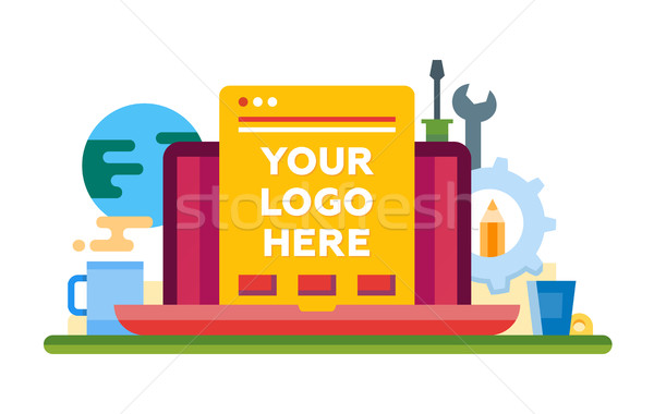 Programming Tools - flat design illistration with copyspace for Logo Stock photo © Decorwithme