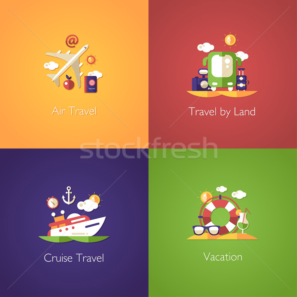 Set of travel flat design compositions Stock photo © Decorwithme