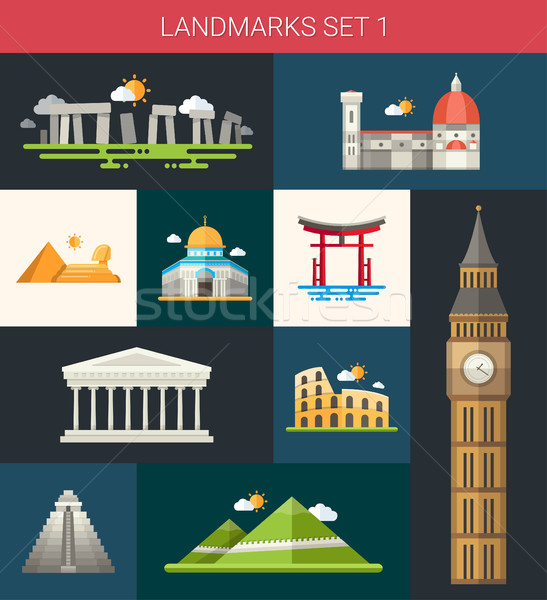 Set of flat design famous world landmarks icons Stock photo © Decorwithme