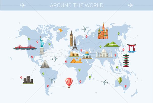 Illustratie ontwerp briefkaart beroemd wereld mijlpaal Stockfoto © Decorwithme