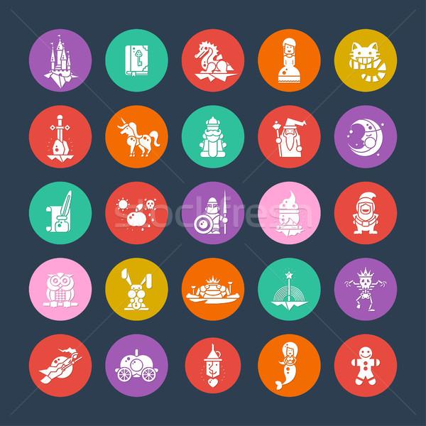 Foto stock: Conjunto · fadas · projeto · magia · ícones · pictogramas
