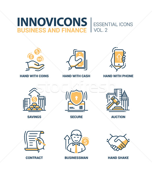 Set of modern office thin line flat design icons, pictograms. Business and finance infographics obje Stock photo © Decorwithme