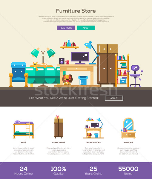 House interior store website header banner with webdesign elements Stock photo © Decorwithme
