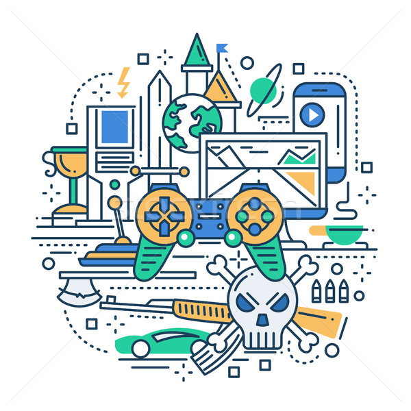 Video Gaming - line design composition Stock photo © Decorwithme