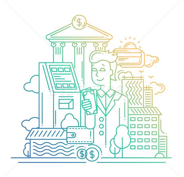 Businessman managing money - line design illustration Stock photo © Decorwithme