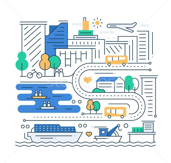 Város élet vonal terv vektor modern Stock fotó © Decorwithme