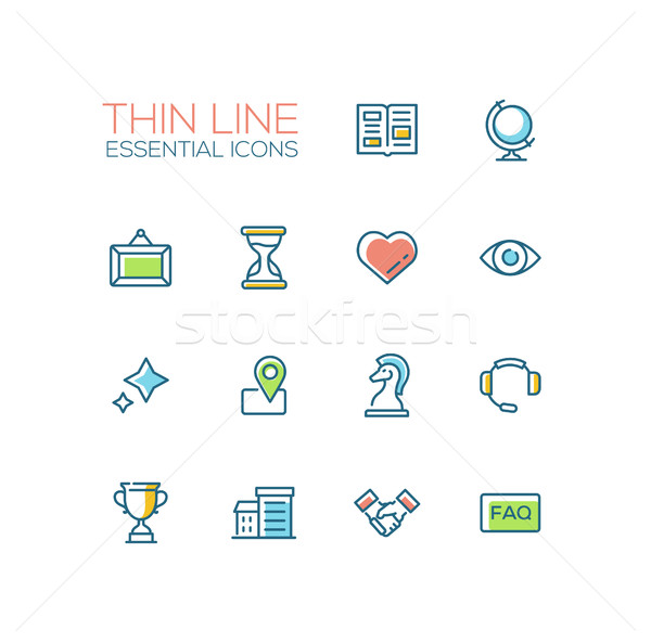 Business - Thin Single Line Icons Set Stock photo © Decorwithme