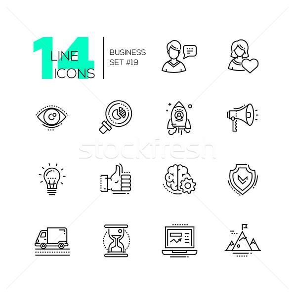 Business - modern single line icons set Stock photo © Decorwithme