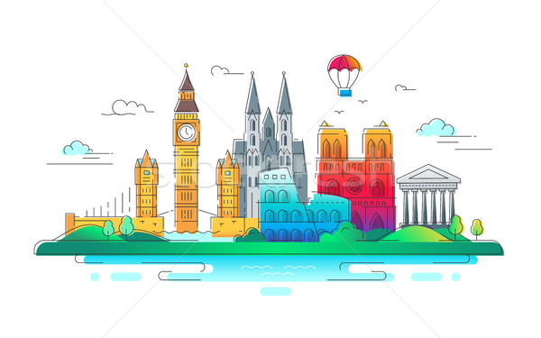 Europeo países vector línea viaje ilustración Foto stock © Decorwithme