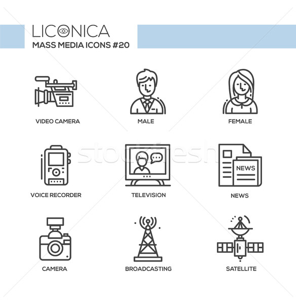 Mass Media - monochromatic modern single line icons set Stock photo © Decorwithme