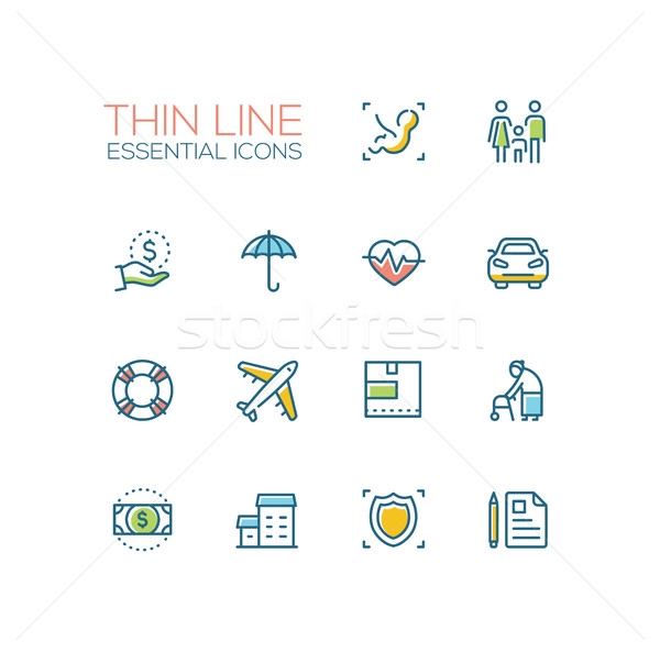 Insurance - modern vector single thin line icons set Stock photo © Decorwithme