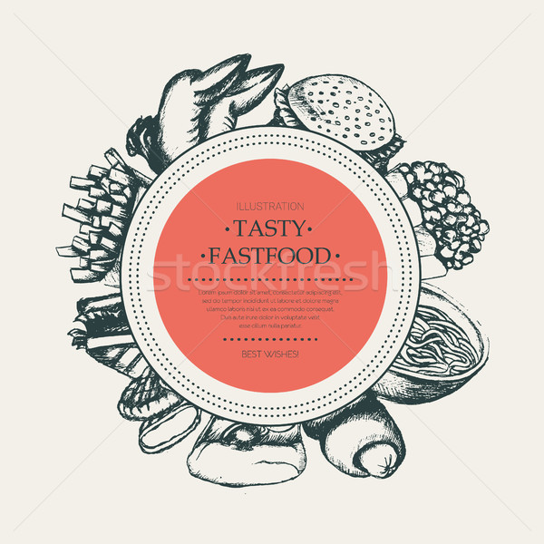 Fast food - modern hand drawn round banner template. Stock photo © Decorwithme
