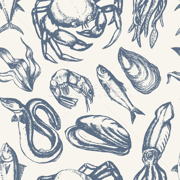 Delicious Seafood - hand drawn seamless pattern Stock photo © Decorwithme