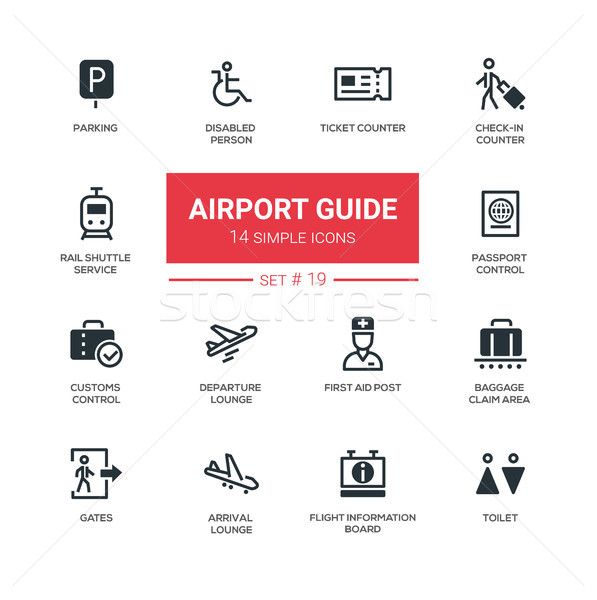 Airport guide - modern simple icons, pictograms set Stock photo © Decorwithme