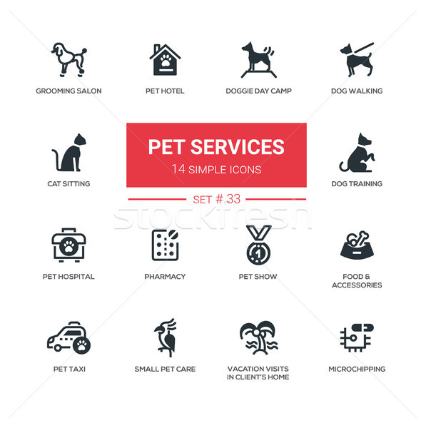 Pet Services - Modern simple thin line design icons, pictograms set Stock photo © Decorwithme