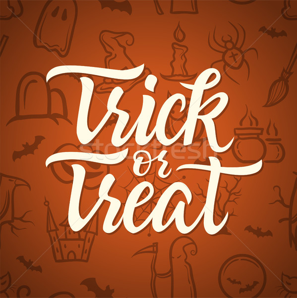 Truc halloween celebrare poster caligrafie Imagine de stoc © Decorwithme