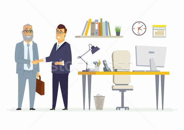 üzleti partnerek kézfogás modern rajzolt emberek betűk illusztráció Stock fotó © Decorwithme