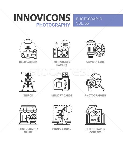 Stock fotó: Fotózás · vonal · terv · ikon · szett · leírás · dslr