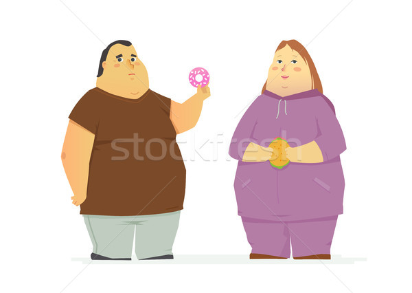 Plump couple eating unhealthy food - cartoon people characters isolated illustration Stock photo © Decorwithme