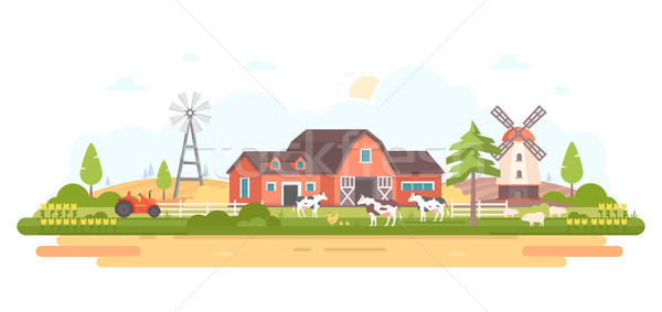 Land leven moderne ontwerp stijl witte Stockfoto © Decorwithme