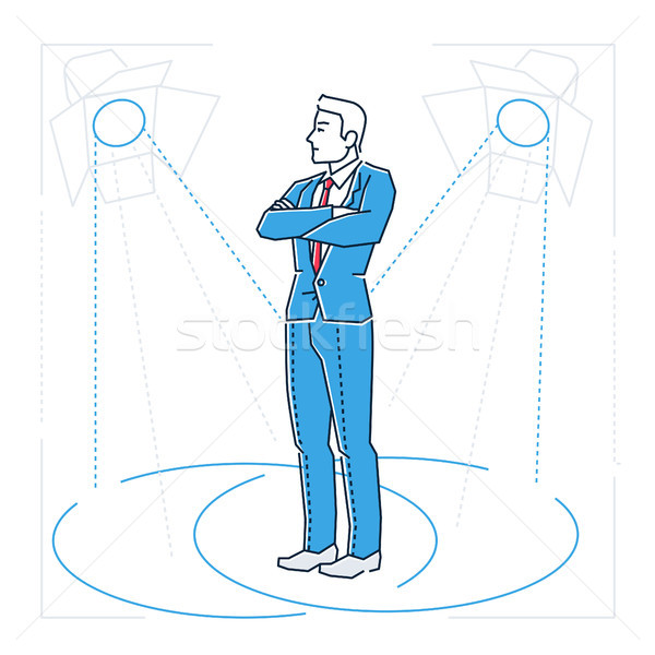 Confident businessman - line design style isolated illustration Stock photo © Decorwithme