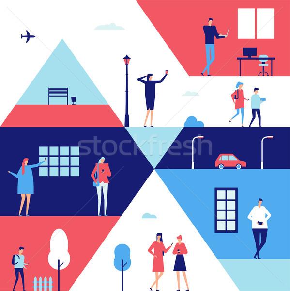 Mensen gadgets ontwerp stijl illustratie cute Stockfoto © Decorwithme